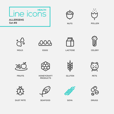 allergen: Set of modern vector Allergens plain simple thin line design icons and pictograms. Nuts, pollen, seafood, mold, lactose, eggs, celery, fruits, honeycraft products, pets, gluten, dust mite soya drugs Illustration