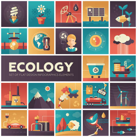 energy crisis: Set of modern vector ecology, environment protection flat design icons in squares. Energy saving, pollution, recycling, heavy industry, climate crisis, ecosystem, environmentally friendly technology
