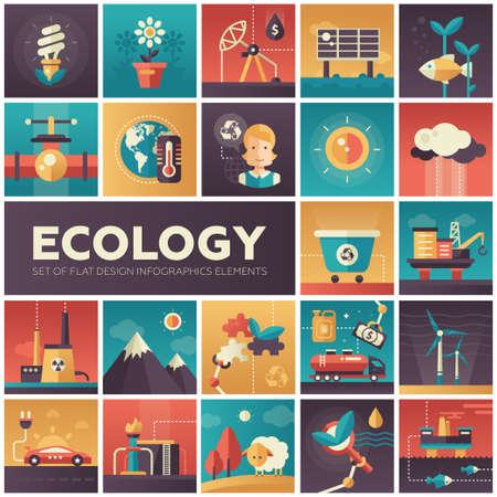 Conjunto de la ecología del vector moderno, protección del medio ambiente de diseño plana en iconos cuadrados. El ahorro de energía, la contaminación, el reciclaje, la industria pesada, crisis del clima, los ecosistemas, la tecnología respetuosa del medio ambiente