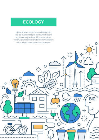 wind power: Ecology - vector line design brochure poster, flyer presentation template, A4 size layout. Energy saving, pollution, recycling, heavy industry, climate crisis, ecosystem, environmentally friendly technology Illustration