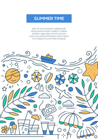 image size: Summer Time - vector line design brochure poster, flyer presentation template, A4 size layout. Summer vacation, holidays, traveling, seaside, recreation, tourism, resort Illustration
