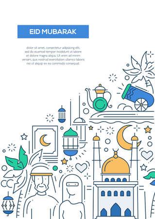 sign: Eid Mubarak, happy holidays - vector line design brochure poster, flyer presentation template, A4 size layout. Muslim holiday, greeting, muslim symbol, islamic people, ramadan, sacred holiday Illustration