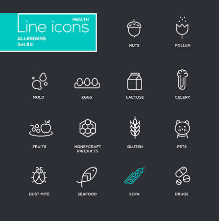 Set of modern vector Allergens plain simple thin line design icons and pictograms - black background. Nuts, pollen, seafood, mold, lactose, eggs, celery, fruits, honeycraft products, pets, gluten, dust mite soya drugs