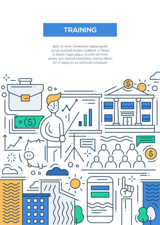 training business: Business Training - vector line design brochure poster, flyer presentation template, A4 size layout. Meeting, training, trainer, trainee, improvement, education, finance employee Illustration