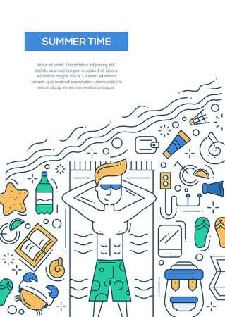 seaside resort: Summer Time - vector line design brochure poster, flyer presentation template, A4 size layout. Summer vacation, holidays, traveling, seaside, recreation, tourism, resort, tourist male Illustration