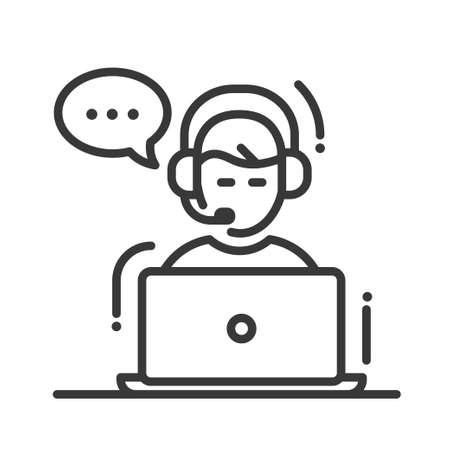 man customer support: Technical support single isolated modern vector line design icon with a male with headset, laptop and speech bubble