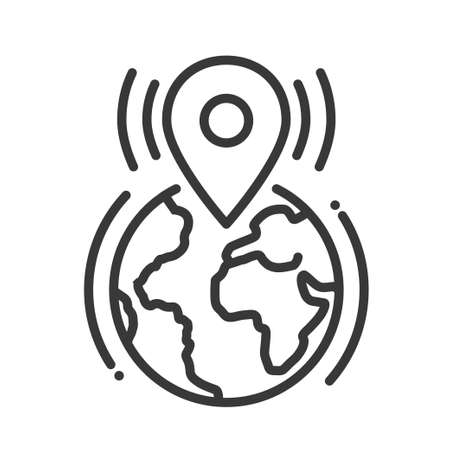 international business: Location tag single isolated modern vector line design icon with the Earth planet and geotagging sign Illustration