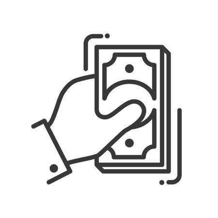 suggesting: Hand with money single isolated modern vector line design icon with a hand holding bills Illustration