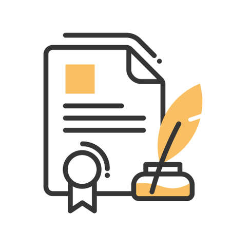 signing document: Legal document single isolated modern vector line design icon with a paper with seal, ink and quill pen