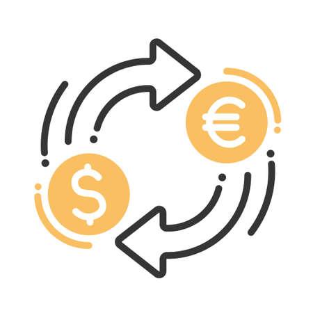 Cambio de moneda única aislada moderna línea de vectores icono del diseño con el dólar, el euro signos