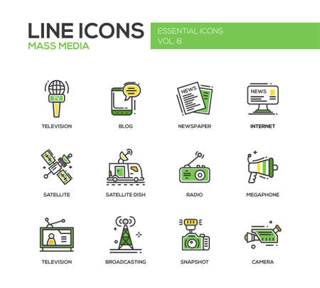 internet radio: Set of modern vector line design mass media icons and mass media pictograms. Tv, newspaper, blog, internet, radio satellite, megaphone, broadcasting, camera, snapshot Illustration