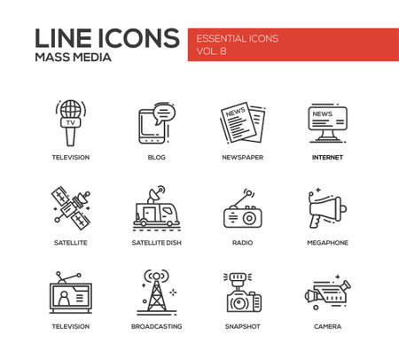 telecommunication: Set of modern vector simple line design mass media icons and mass media pictograms. Tv, newspaper, blog, internet, radio satellite, megaphone, broadcasting, camera, snapshot