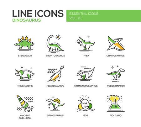 prehistoric animals: Set of modern vector line design icons and pictograms of dinosaurs species, prehistoric age life. Stegosaur, t-rex, brontosaurus, ornitosaurus, plesiosaurus, triceratops, velociraptor, spinosaurus Illustration
