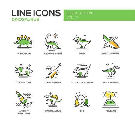 Set of modern vector line design icons and pictograms of dinosaurs species, prehistoric age life. Stegosaur, t-rex, brontosaurus, ornitosaurus, plesiosaurus, triceratops, velociraptor, spinosaurus Illustration
