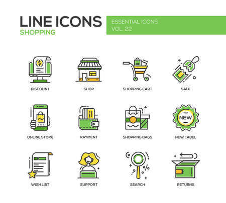 Set of modern vector line design icons and pictograms of shopping process elements. Discount, shopping cart, shop, sale, online store, payment, shopping bags, new label, wishlist, support, search, returns Vektorové ilustrace