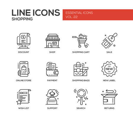 discount store: Set of modern vector line design icons and pictograms of shopping process elements. Discount, shopping cart, shop, sale, online store, payment, shopping bags, new label, wishlist, support, search, returns Illustration