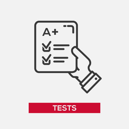 Tests single isolated modern vector line design icon with a hand holding paper with successful test results