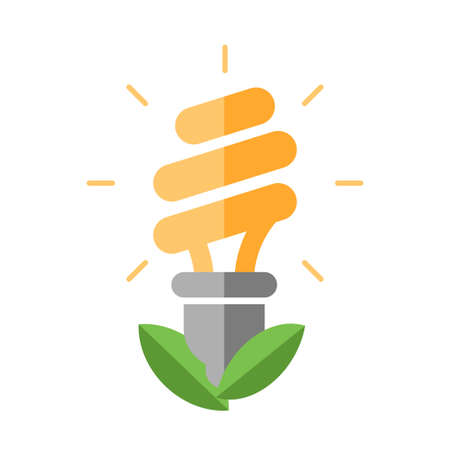 esl: Energy Saving single isolated modern vector flat design icon with energy saving lamp and green leaves