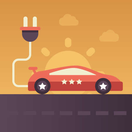 esl: Electric Vehicle single isolated modern vector flat design icon with electric car on the road and the sun on the background