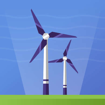 wind icon: Wind Power single isolated modern vector flat design icon with wind turbines Illustration