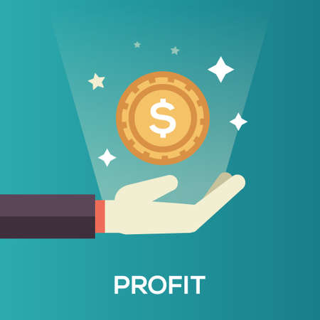 hands holding sign: Profit single isolated modern vector line design icon with a hand and dollar coin Illustration