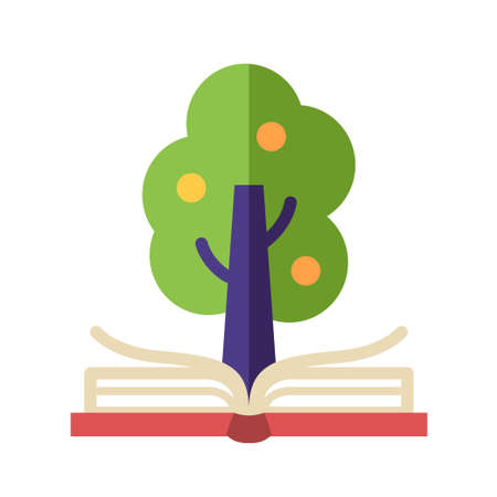 institute: Learning and Knowledge single isolated modern vector flat design icon with open book and tree on it
