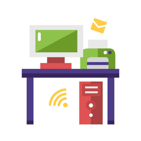 work place: Work Place single isolated modern vector flat design icon with a desk, computer and printer
