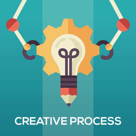 creative idea: Creative Process single isolated modern vector flat design icon with an idea bulb and mechanic arms