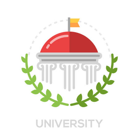 university building: University single isolated modern vector line design icon with a university building symbol and laurels