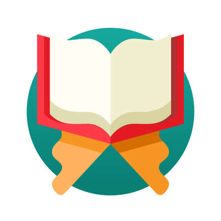 holy book: Islamic Holy Book Quran single isolated modern vector flat design icon with open book