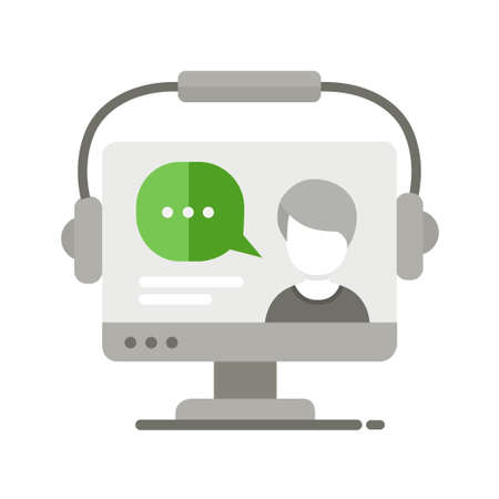 tutor: Webinar single isolated modern vector line design icon with a computer display and a tutor teaching online