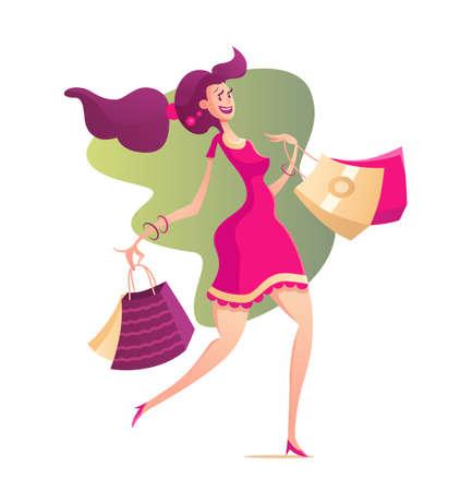 niña feliz con bolsas de la compra - ilustración vectorial moderna con un personaje femenino que recorre después de hacer compras