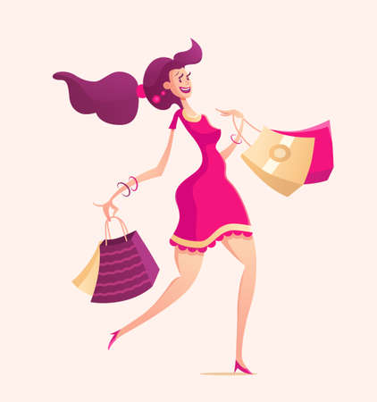 female girl: Happy girl with shopping bags - modern vector illustration with a female character walking after shopping - solid background