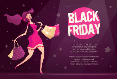 lady shopping: Black Friday flyer, poster template with happy female shopper - modern vector illustration with a female character walking after shopping