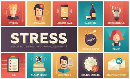 online support: Set of modern vector line design icons and pictograms of stress and nervous breakdown. Headache, urgent call, alcohol, fail, alarm clock, low mood, relief, online support, brain charging, broken bulb