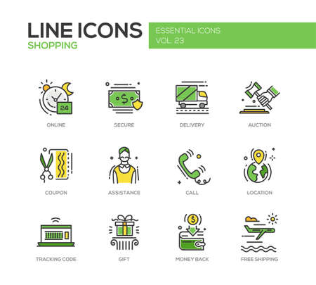 cash back: Set of modern vector line design icons and pictograms of shopping process elements. Online, secure, delivery, auction, coupon, assistance, call, location, tracking code, gift, money back shipping