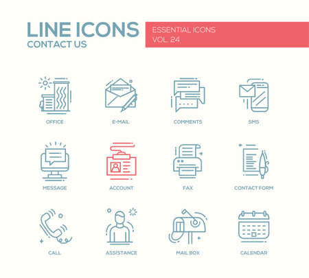 account form: Contact Us - modern vector plain line design icons and pictograms set with communication symbols. Office, e-mail, comments, sms, message, account, fax, form, call, assistance, mail box calendar