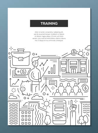trainee: Business Training - vector line design brochure poster, flyer presentation template, A4 size layout. Meeting, trainer, trainee, improvement, education, finance employee