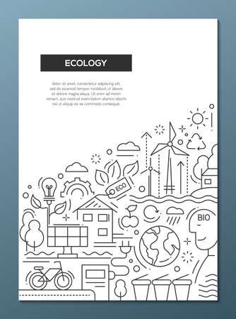 ecosistema: Ecología - vector cartel diseño de la línea folleto, volante plantilla de presentación, diseño de tamaño A4. El ahorro de energía, la contaminación, el reciclaje, la industria pesada, crisis del clima, los ecosistemas, la tecnología respetuosa del medio ambiente