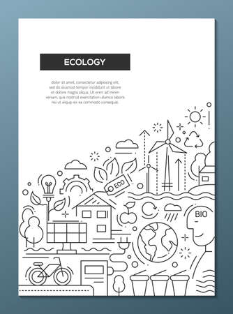 ecosystems: Ecology - vector line design brochure poster, flyer presentation template, A4 size layout. Energy saving, pollution, recycling, heavy industry, climate crisis, ecosystem, environmentally friendly technology Illustration