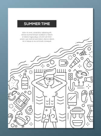 travelling: Summer Time - vector line design brochure poster, flyer presentation template, A4 size layout. Vacation, holidays, traveling, seaside, recreation, tourism, resort tourist male Illustration