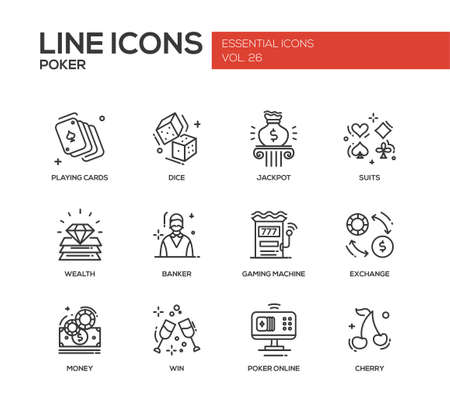 challenges: Poker - modern vector plain line design icons and pictograms set. Playing cards, dice, suits, jackpot, wealth, banker, gaming machine, exchange, money, win poker online cherry
