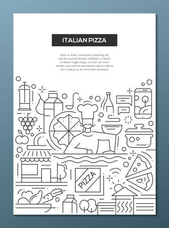pizza place: Italian pizza - vector line design brochure poster, flyer presentation template, A4 size layout. Italy cuisine, food, meals, restaurant, cafe, pizzeria, ingridients, kitchen chef cooker