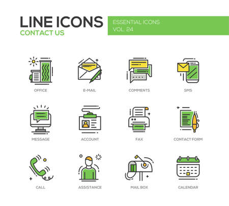 Contact Us - modern vector line design icons and pictograms set with communication symbols. Office, e-mail, comments, sms, message, account, fax, form, call, assistance, mail box calendar