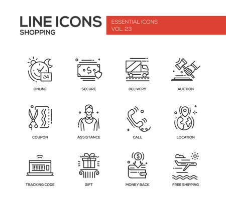 secure shopping: Set of modern vector plain line design icons and pictograms of shopping process elements. Online, secure, delivery, auction, coupon, assistance, call, location, tracking, gift, money back shipping