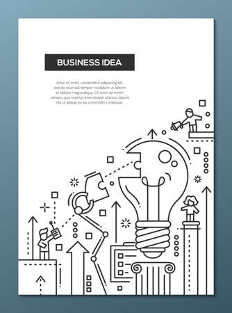image size: Business Idea - vector line design brochure poster, flyer presentation template, A4 size layout. Robot arms assembling a bulb