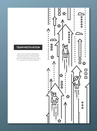 moving forward: Business Team - vector line design brochure poster, flyer presentation template, A4 size layout. Successful people moving forward on arrows Illustration