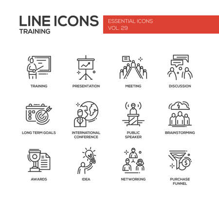 conference speaker: Business training - modern vector plain simple line design icons and pictograms set. Presentation, meeting, discussion, goals, conference, speaker, brainstorm, awards, idea networking purchase funnel Illustration