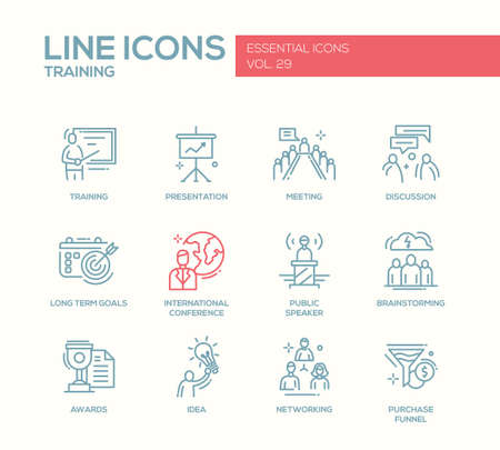 trainers: Business training - modern vector plain simple line design icons and pictograms set. Presentation, meeting, discussion, goals, conference, speaker, brainstorm, awards, idea networking purchase funnel Illustration