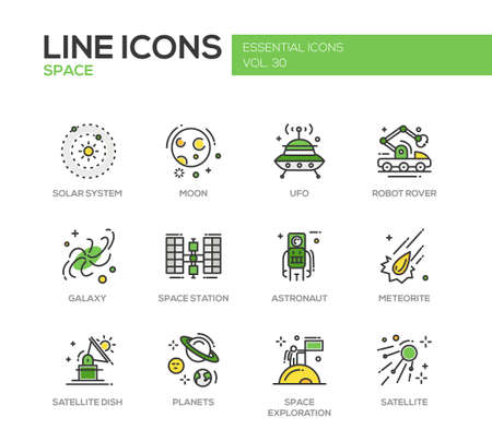 space station: The Space - modern vector line design icons and pictograms set. Solar system, moon, ufo, robot rover, galaxy, space station, astronaut, meteorite, satellite, planets exploration